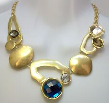 GOLD TONE CHAIN STATEMENT NECKLACE BLUE CLEAR CABOCHONS RHINESTONES FOREVER 21