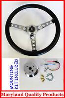 "70's Mustang GT Retro Black Steering Wheel 14 1/2"" High Rise Mustang Center Cap"