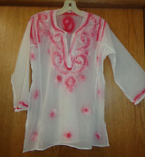 Womans sz S/M ~ Sheer White TUNIC ~ Embroidered with airbrushed blush paisleys ~