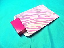 100 5x7 White Pink Zebra Party Paper Bags, Animal Striped Colored Gift Kraft Bag
