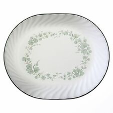 Corelle CALLAWAY Ivy Oblong SERVING PLATTER 12x10 Embossed Swirls GREEN Rim *NEW