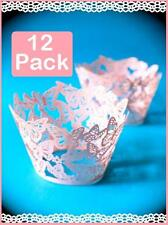 12 x Pink Pearl Lace Butterfly Wedding Cupcake Wrapper Baking Cake Cups Wraps