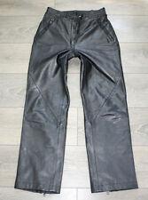 "Vintage Black Thick Leather Biker Motorcycle Pants Jeans Trousers Size W28"" L29"""