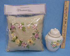 Embroidery Flower Sofa Pillow & Raised Floral Iridescent Ginger Jar Lot of 2