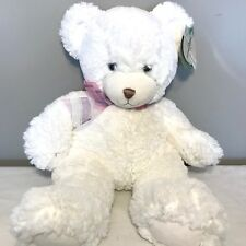 "FIRST & MAIN Dena Plush Teddy Bear 1786 White Furry Stuffed 14"" NEW Super Soft!"