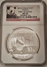 2014 CHINA 10 YUAN PANDA 1 OZ SILVER COIN NGC MS 70 GEM Perfect First Releases