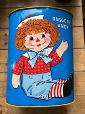 Vintage 1972 Raggedy Ann & Andy Metal Trash Can Garbage Can Bright Colours !
