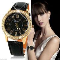 Mode Damen Armbanduhr Kristall Edelstahl Analog Leder Quarz Wrist Watch