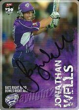 ✺Signed✺ 2014 2015 HOBART HURRICANES Cricket Card JONATHAN WELLS Big Bash League