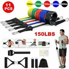 11PCS Resistance Bands Set Crossfit Fitness Training Tubes Workout 150LBS US