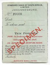 STANDARD BANK OF SOUTH AFRICA SPECIMEN OVERPRINT ON COUNTERFOIL CIRCA 1862 REF53