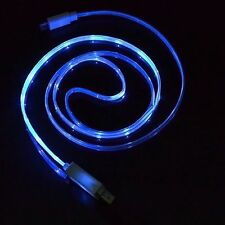 Samsung Galaxy S6 Micro USB Kabel LADEKABEL Datenkabel Neon LED Blau
