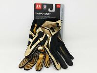 New Under Armour Spotlight Football Receiver Gloves Gold Black Sz XXL