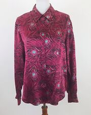 Women's Peacock Feather Top Button Collar Size 12 100% Silk Style Co Collection