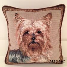 "Yorkie Dog Needlepoint Pillow 10""x10"" NWT"