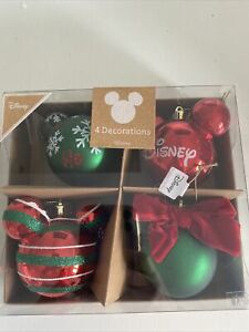 SALE Primark Disney 4 Mickey Mouse Christmas Tree Baubles Decorations Red Green