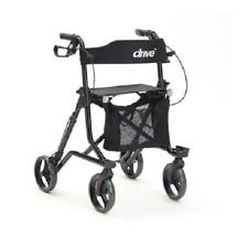 Drive Black Torro Rollator Walking Frame With Seat, Backrest, Bag & Cane Holder