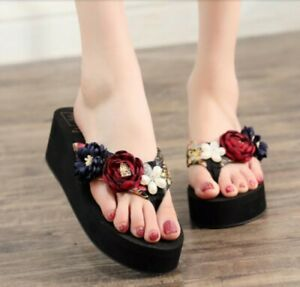 Clip Toe Thong Platform Floral Wedge Mid Heel Women's Shoes Beach Slippers 34-40