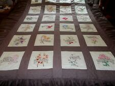 """Vintage Hand Embroidered 48 State Flower Quilt with 18 1/2"""" Ruffles on 3 sides"""