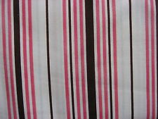 White Brown and Pink Stripe Print 100% cotton, Maywood Studios