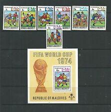 Maldives 1974 World Cup SG514-20 + MS521 mnh.