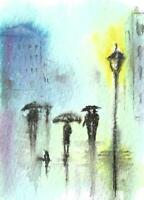 ACEO Rain abstract umbrella original painting watercolor art card