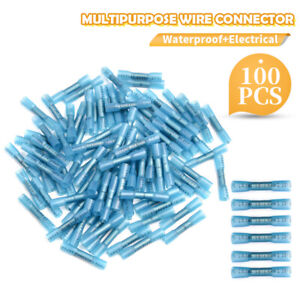 100X Heat Shrink Butt Wire Splice Seal Connectors Crimp Terminal Blue 16-14 AWG