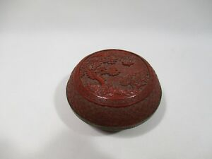 ANCIEN COFFRET BOITE CHINOISE LAQUE DE CINABRE LACQUER CINNABAR CHINESE BOX