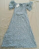 Faithfull The Brand Floral Blue Majorelle Midi Dress Size M Medium New With Tags