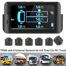 Car Truck TPMS Tire Pressure Monitor System USB/Solar Charging+6 External Sensor