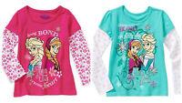 Disney Frozen Girls Long Sleeve Tee Elsa Ana Olaf Kids Size 4 5 6 6X