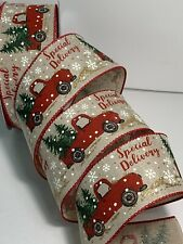 5 Yds Of 2 1/2� Red Truck With Christmas Tree Faux Burlap/linen Ribbon Wired