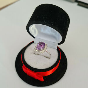 Stunning Moroccan Amethyst & Zircon Halo Ring in Platinum Over Sterling Silver