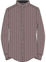 Ben Sherman Shirt - Ben Sherman Men's LS Optic Spot Print Shirt Wine