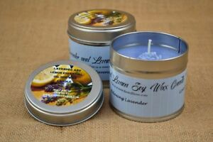 HANDMADE SOY WAX CANDLE - LAVENDER AND LEMON IN A 225ML TIN
