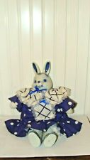 Vintage Adorable Easter Bunny/Rabbit with Blue & White Porcelain Head & Legs