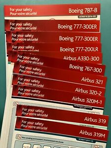 11 AIR CANADA SAFETY CARDS SET--319-787