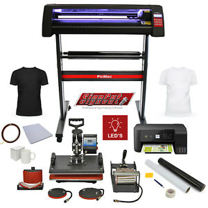 Heat Press LED Vinyl Cutter Printer 5-in-1 Sublimation Complete Business Bundle