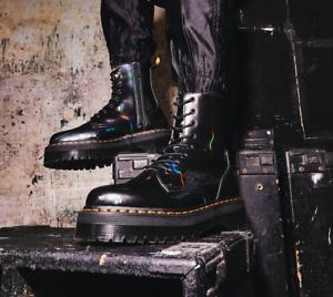 Dr. Martens JADON PLATFORM Gunmetal Hologram Finish Boots Great Reviews