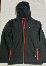Spyder Mens Black Chambers Full Zip Hoody Fleece Jacket Sz. L  MSRP $129