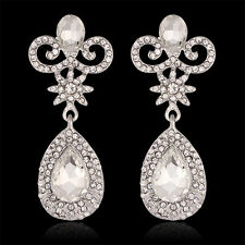 Glamorous White Gold Plated Clear Crystal Wedding Statement  Earrings