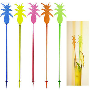 10 Large Cocktail Stirrers Party Pineapple 23.5CM Long Colourful Summer Buffet