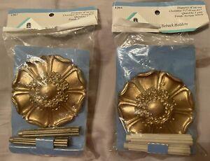"2 Pair (4) Vintage Graber Flower Petal Curtain Drape Tieback Holdback Gold 4"""