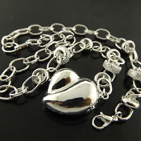A456 GENUINE REAL 925 STERLING SILVER S/F LADIES HEART PENDANT NECKLACE CHAIN