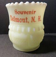 "EAPG ""Souvenir Belmont, N.H.""  Custard Glass Toothpick Holder w/ Gold Accents"