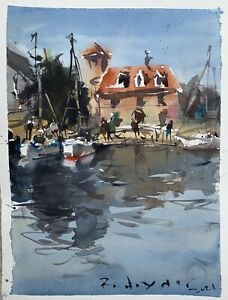 Abstract Landscape Watercolor Painting With Buildings And Boats