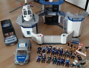 großes Playmobil Polizei Set Auto Hubschrauber  Polizeistation Figuren Zubehör