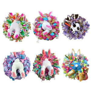 Easter Rabbit Wreath Ornament Bunny Butt and Ears Wreath Garland for Front Door