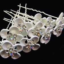 12 Forcine spilloni forcina Fiore Bianco strass fermaglio capelli  acconciatura 78c1cccec80e