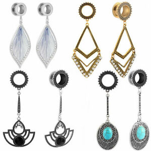 ear gauges long drop dangle surgical steel stone gem jeweled dangle ear plugs